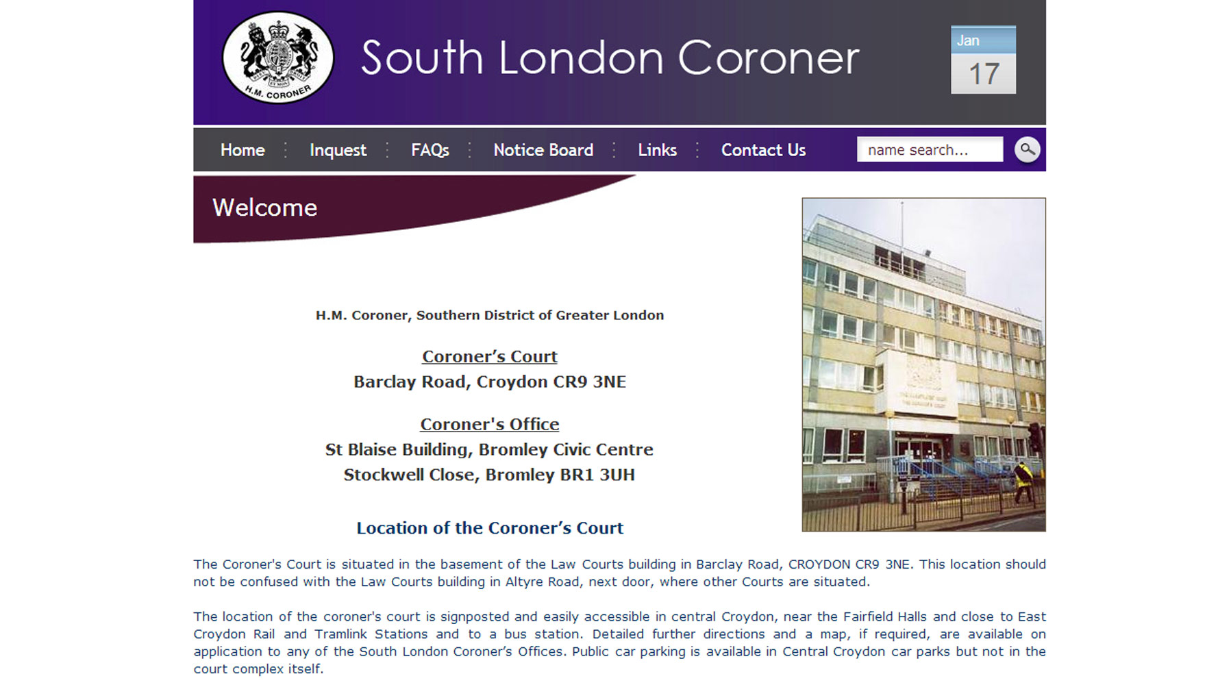 South London Coroner Homepage designed and developed by Web Adept