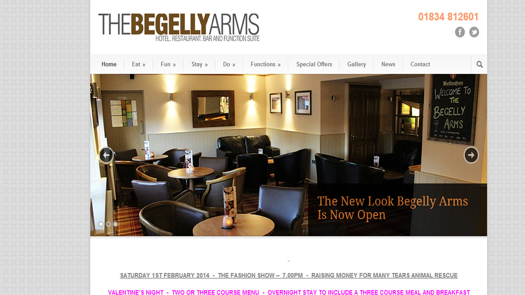 Begelly Arms Homepage designed and created by Web Adept