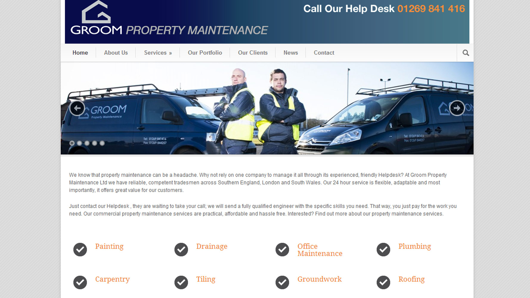 Groom Property Maintenance Website Web Design by Web Adept