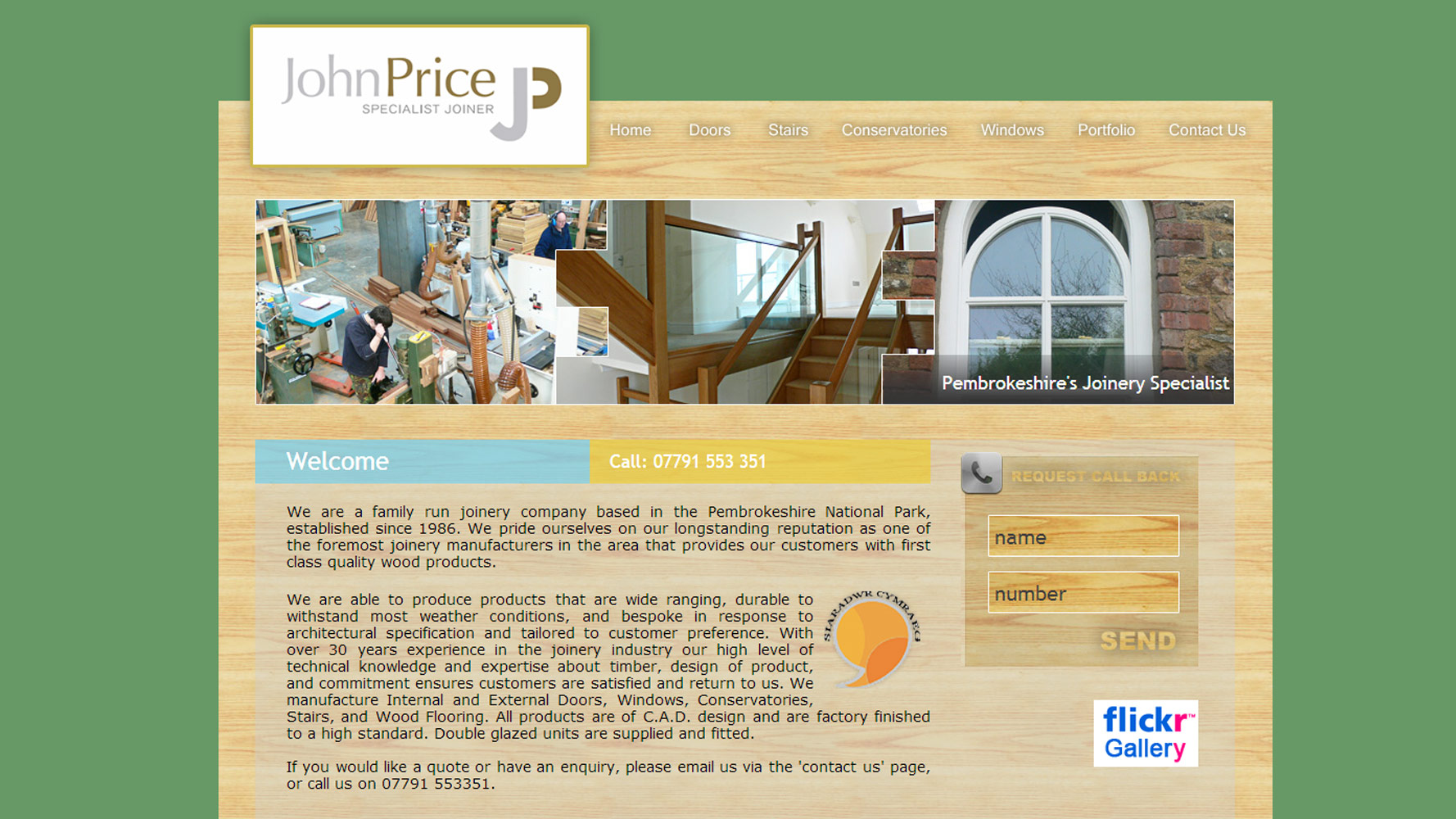 Homepage for John Price Joinery by Web Adept Web Design