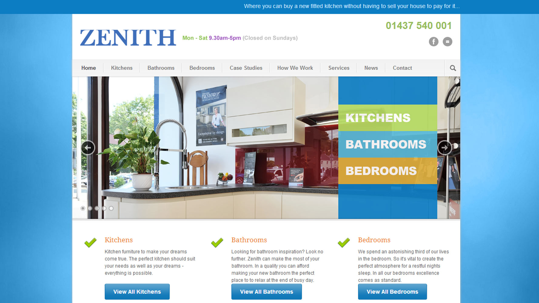 Zenith Interiors Homepage Web Design by Web Adept