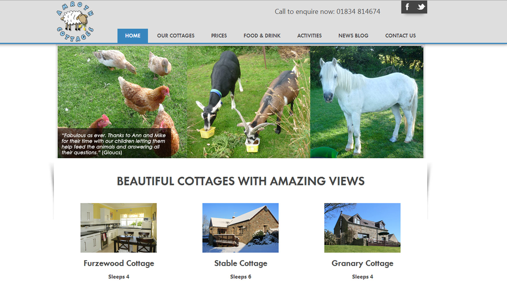 Amroth Cottages Web Design by Web Adept