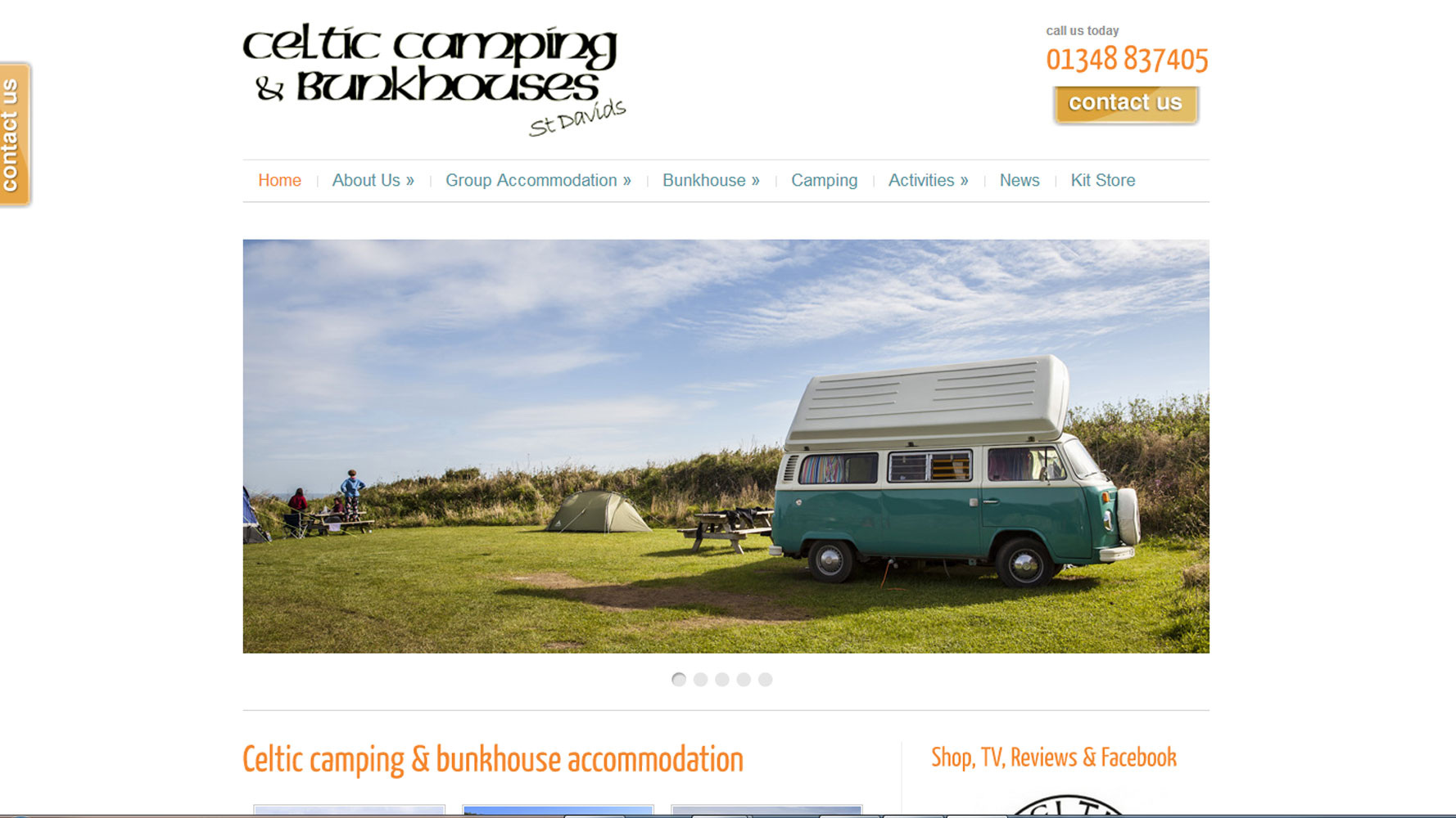 Celtic Camping Homepage Web design by Web Adept