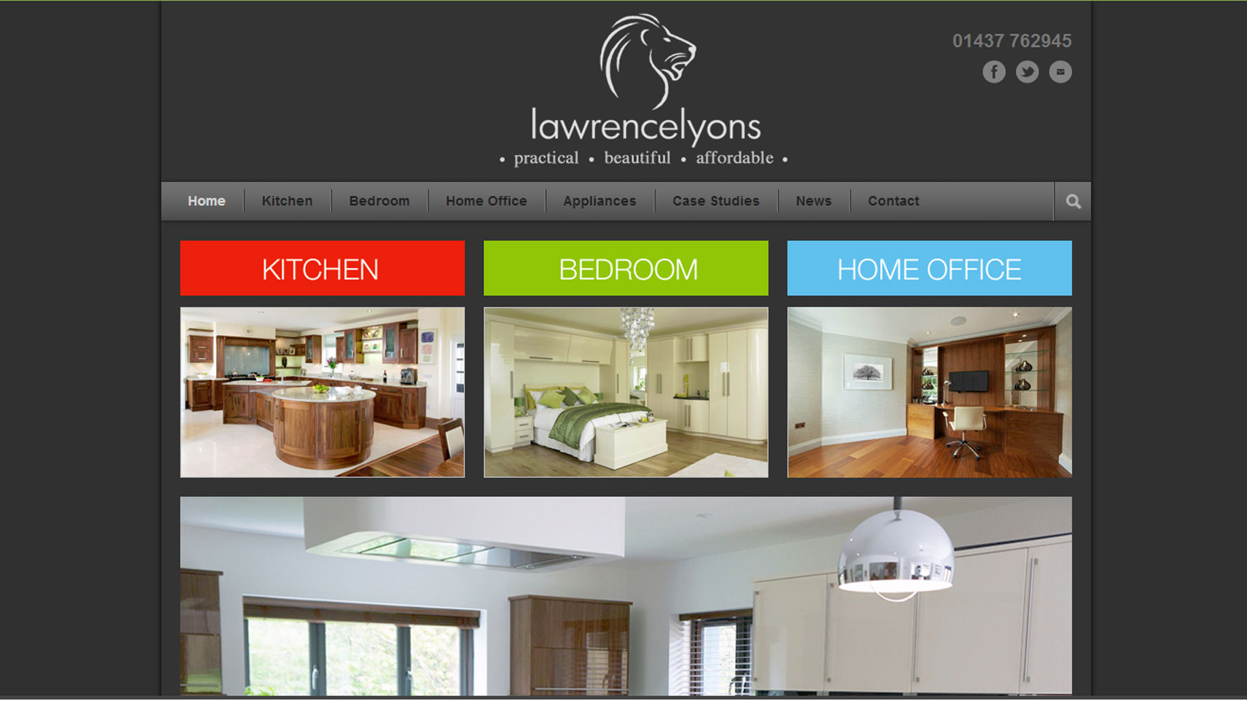 Lawrence Lyons homepage design, web design by Web Adept