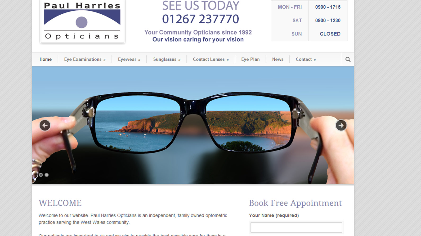 Paul harries Opticians Homepage web Design by Web Adept