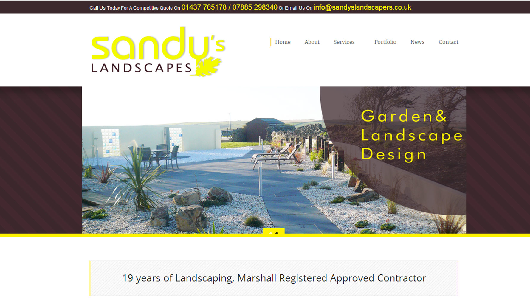 Sandys Landscapes homepage web design by web adept