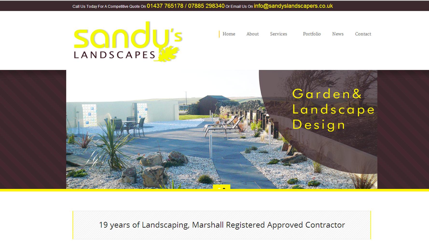 Sandys Landscapes homepage web design by web adept