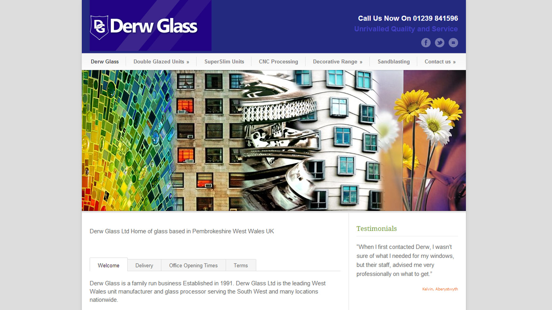 Derw Glass Website Web Design by Web Adept