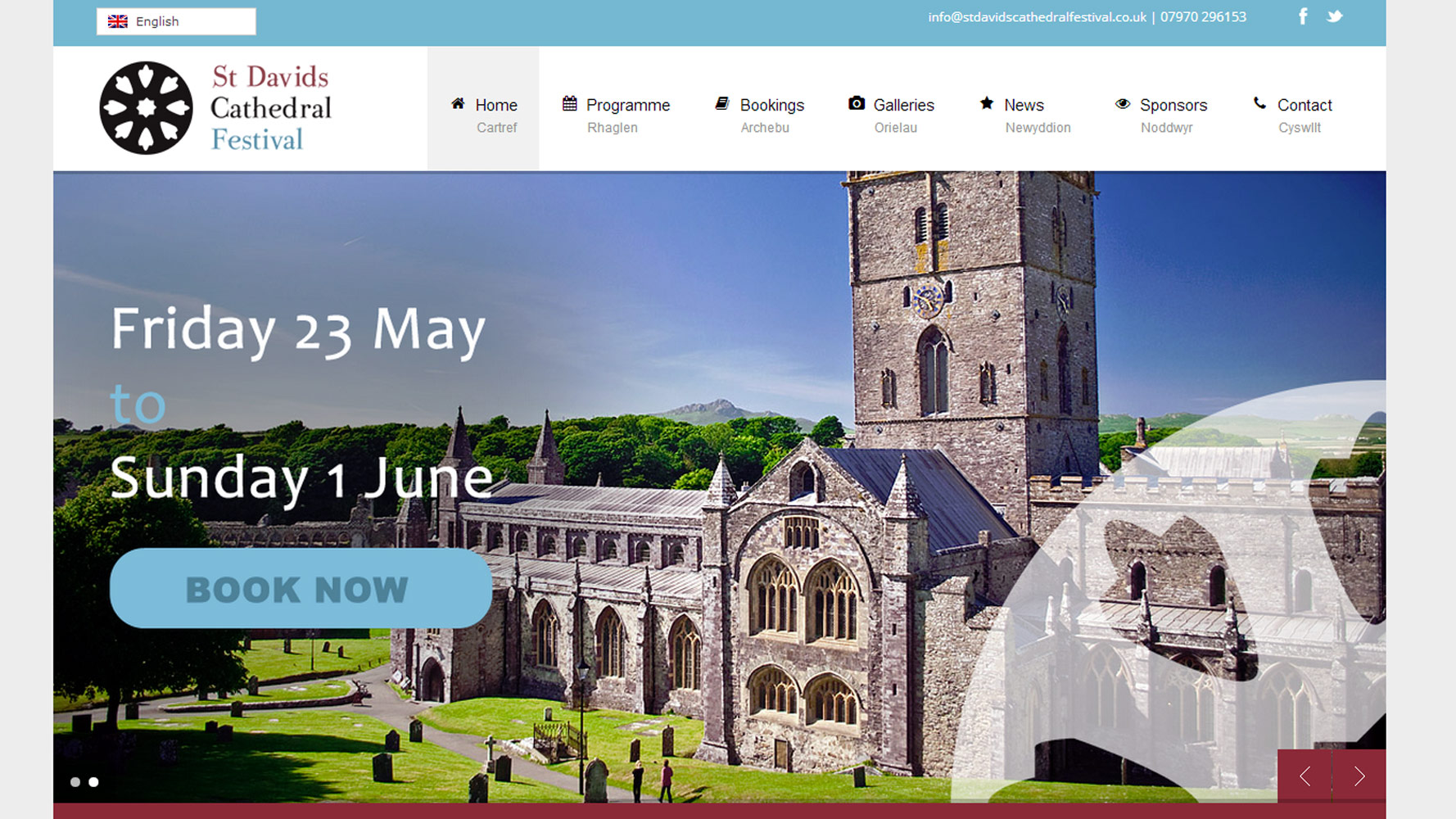 St. Davids Cathedral Festival Web Design by Web Adept
