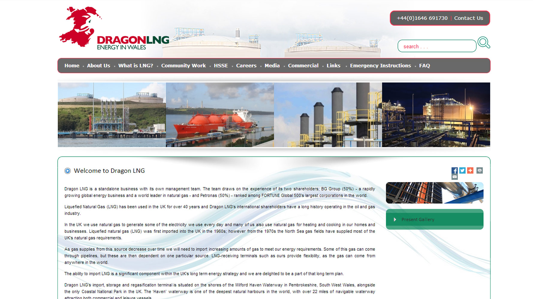 Dragon LNG homepage, web design by Web Adept