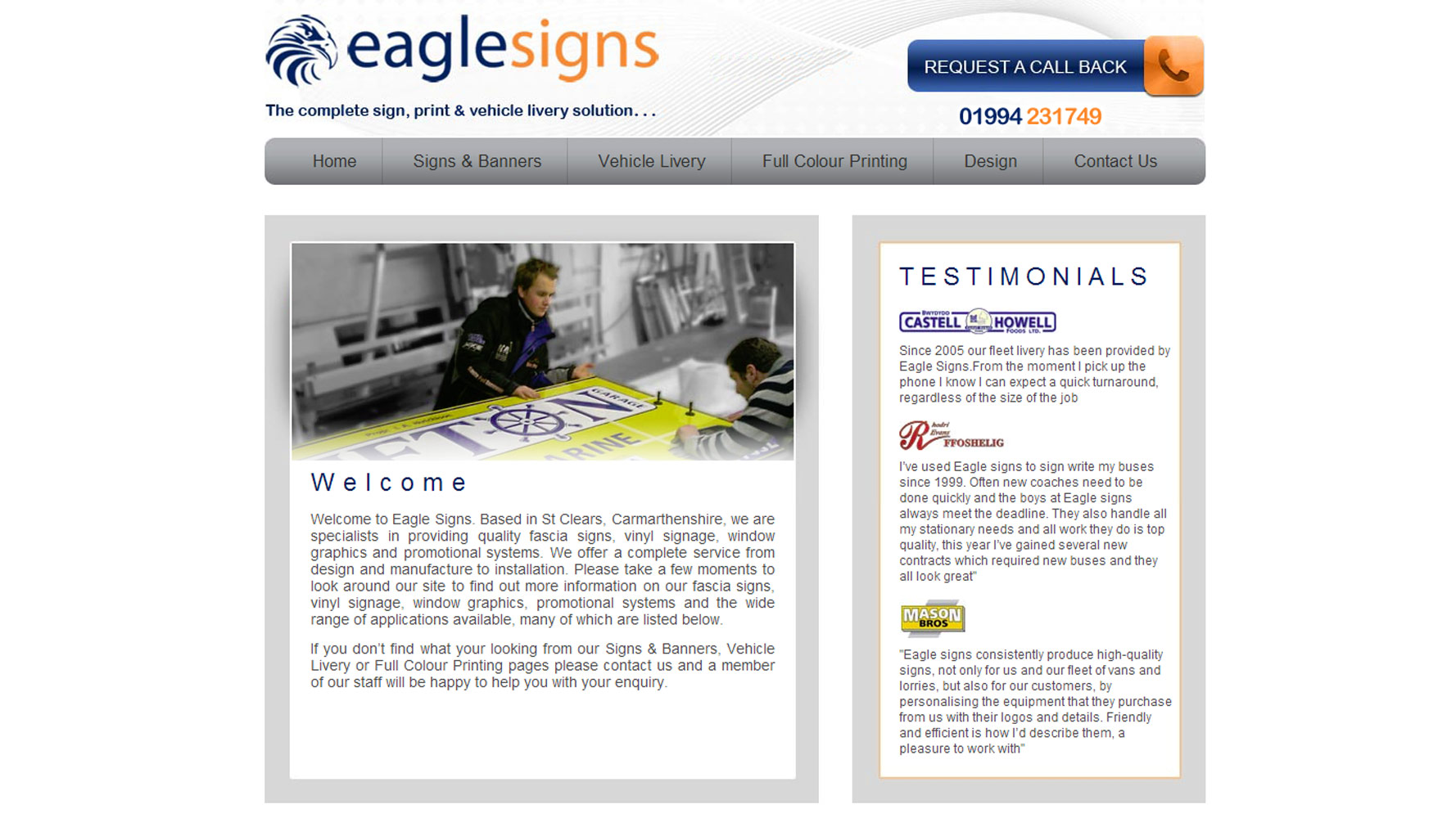 Eagle Signs Web Design by Web Adept
