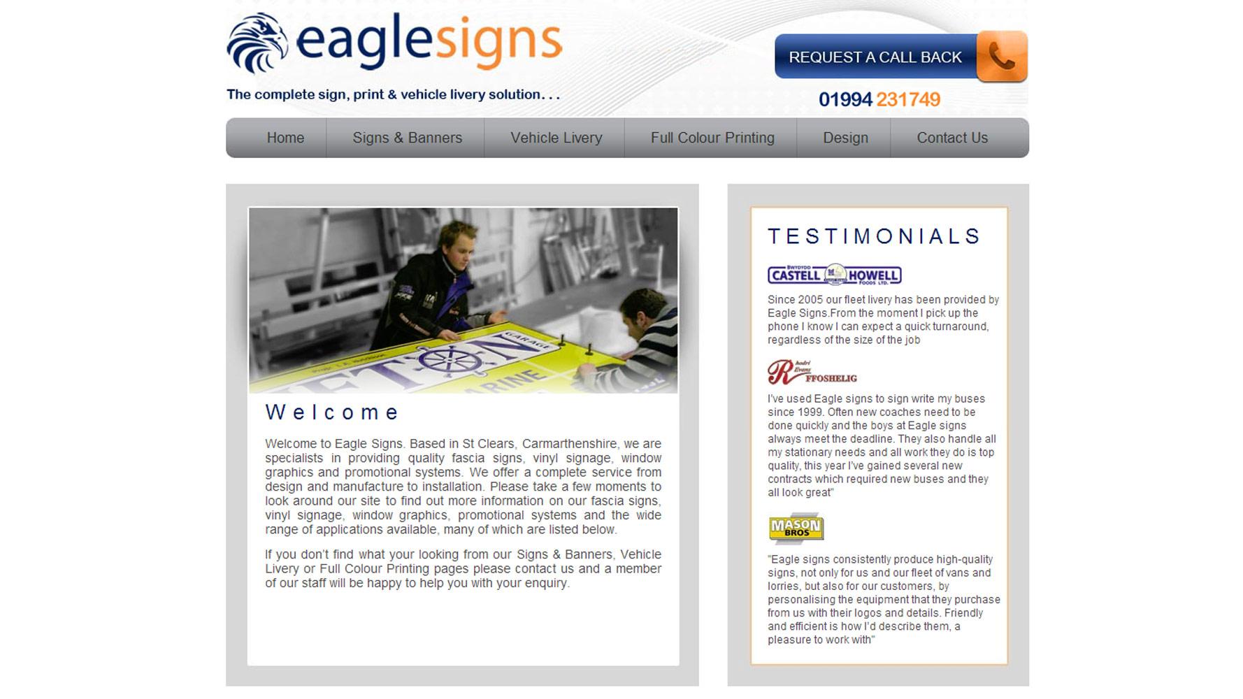 Eagle Signs Web Design by Web Adept