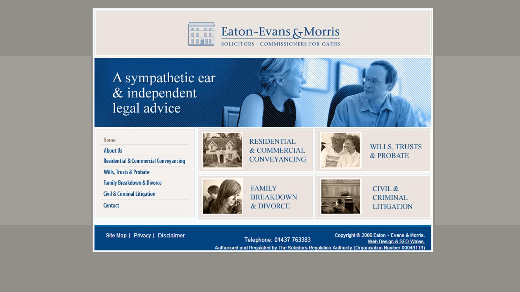 eaton evans & morris web design by Web Adept