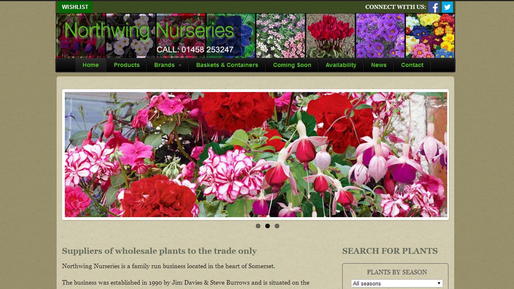 northwing nurseries screenshot by web adept