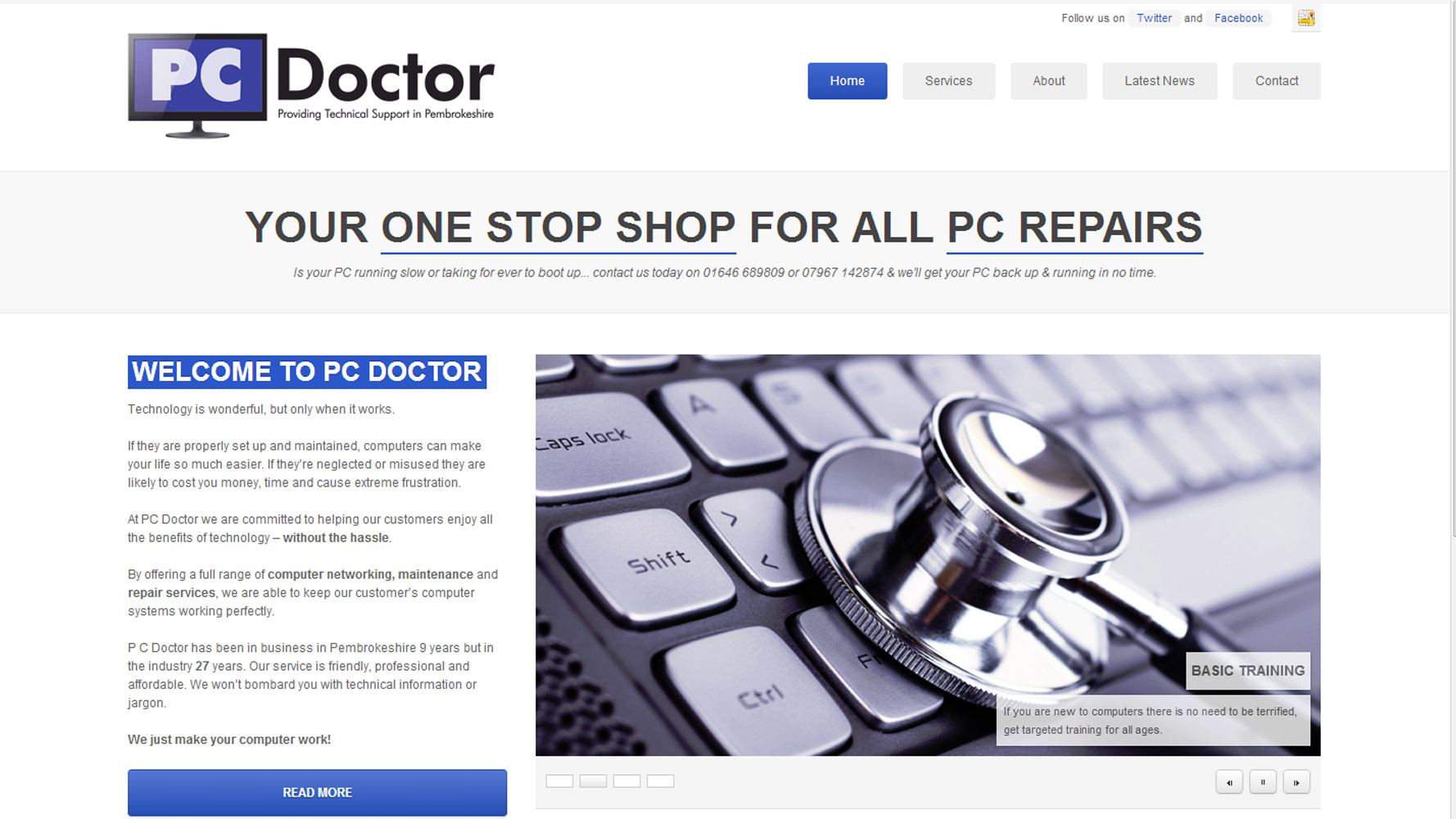 pembs pc doctor homepage designed by Web Adept