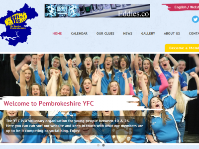 Pembrokeshire YFC Homepage Web Design by Web Adept Pembrokeshire