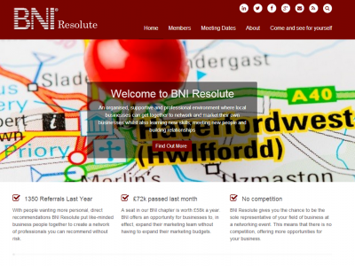 BNI pembrokeshire, web design and development by Web Adept