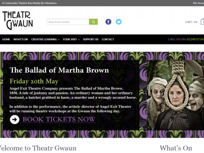 Theatr Gwaunm web design and development by Web Adept. Pembrokeshire