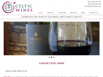 Celtic Wines Homepage web design and development by Web Adept