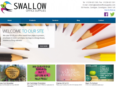Swallow Office Supplies New Website, Designed and Coded by Web Adept, Pembrokeshire