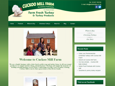 cuckoo mill homepage, web design by web adept