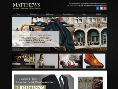 new website designed and developed by web adept, for Matthews Menswear Pembrokeshire