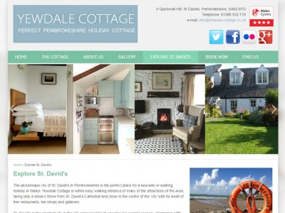 Yewdale Holiday Cottage, Pembrokeshire, new website designed and developed by Web Adept