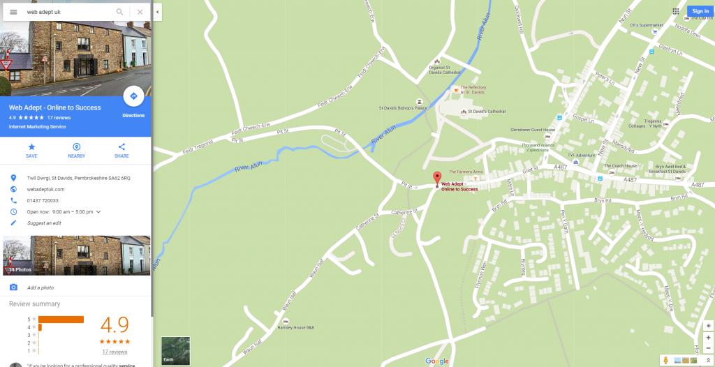 Pembrokeshire Web Design Google Maps