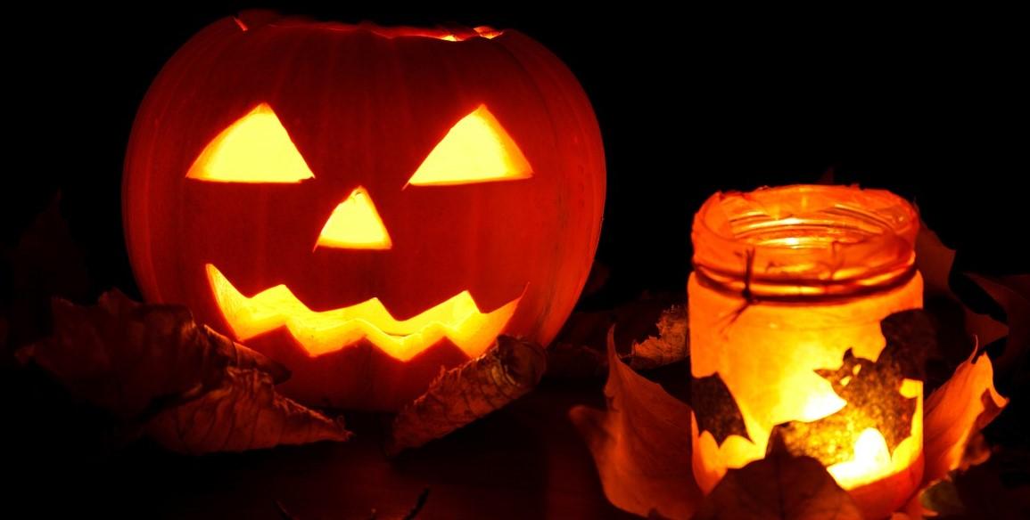 Halloween pumpkin and lantern
