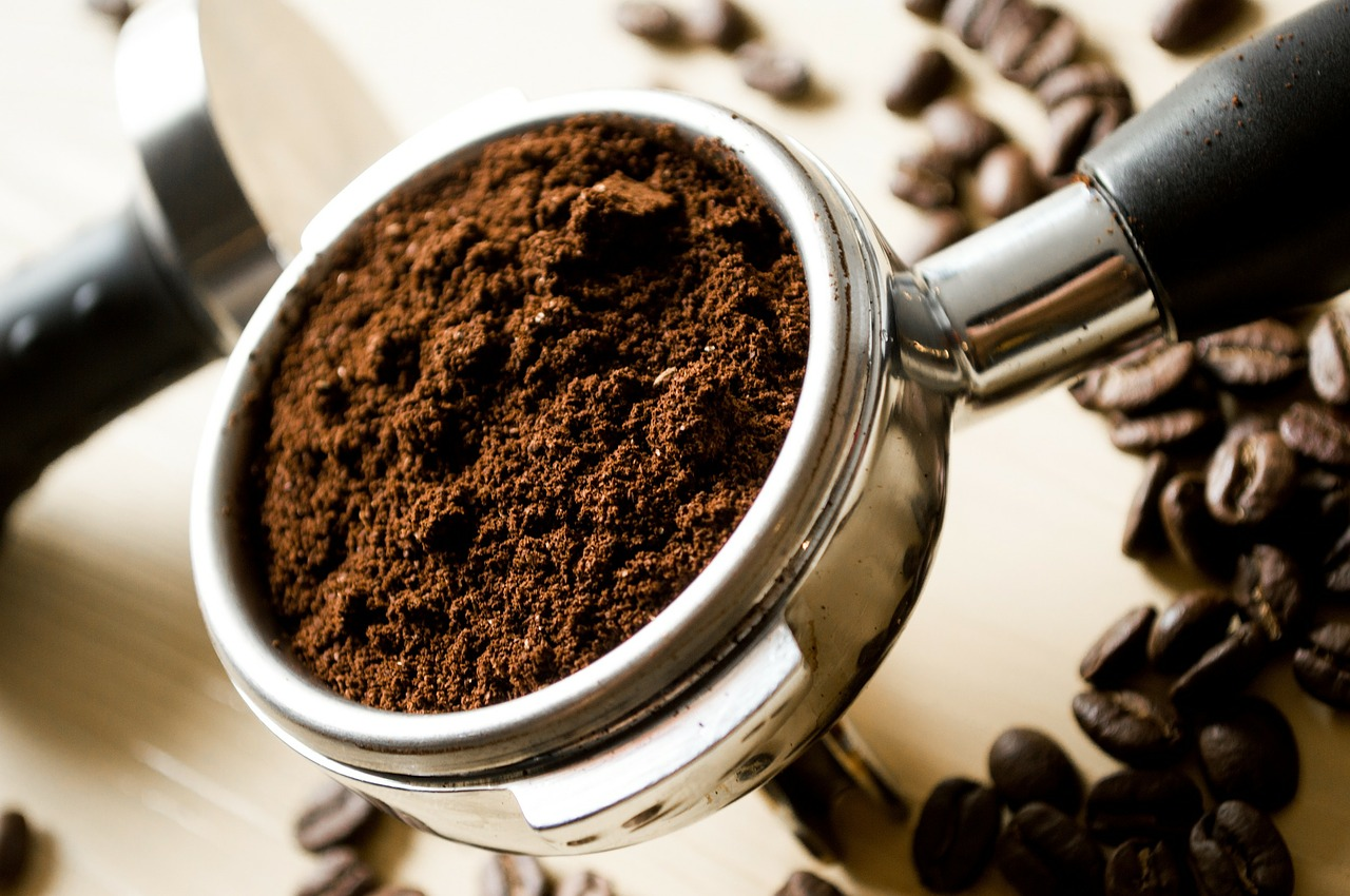 coffee grounds ready to go in a percolator